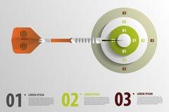 Strzałka z celem elementy infographic wektor ilustracji