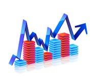 strzałkowate błękitny biznesowego wykresu grey serie Obrazy Stock