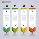 Strzałkowaty Infographic szablon Minimalni kolorowi liczący sztandary royalty ilustracja
