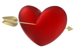strzałkowaty serce przebijająca czerwień Obraz Stock