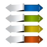 Strzałkowaty sieć szablon - 4 kroka, opcje, sztandary Obrazy Royalty Free