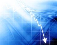 Strzałkowaty wykres iść w dół Obrazy Stock