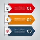 Strzałkowaty infographic opcja sztandar Wektorowy szablon z 3 krokami Zdjęcia Stock