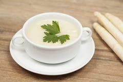 strzały szparagów blisko zupy, Fotografia Stock