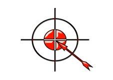 strzała zaznacza symbolu cel Ilustracji