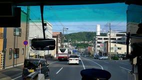 Strzelający widok wśrodku autobusu wzdłuż Japonia ulicy Narita lotnisko zbiory wideo