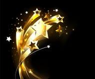 Strzeliste złoto gwiazdy na czarnym tle ilustracja wektor