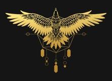 Strzelisty ptak zdobycz Złocista sylwetka na czarnym tle Obrazy Royalty Free