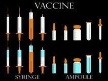 strzykawek buteleczki szczepionka Medyczni instrumenty ustawiający Obraz Royalty Free