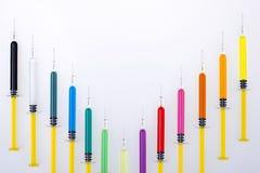 Strzykawki Kolorowe Zdjęcie Stock