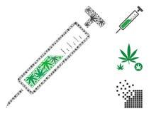 Strzykawki mozaika Konopiani liście royalty ilustracja