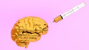 Strzykawki wtryskowy złoto w mózg minimalny pojęcie pomysł 3 Zdjęcie Stock