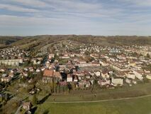 Strzyzow, Poland - 9 9 2018: Photograph of the old part of a small town from a bird`s flight. Aerial photography by drone or