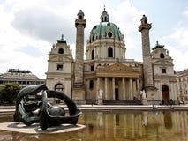 Sts Charles kyrka, Wien, Österrike Arkivfoto