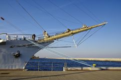 STS Gift of the Youth Dar Mlodziezy - three-masted Polish training frigate type B-95 in Gdynia. GDYNIA, POLAND: SEPTEMBER 29, 2017: STS Gift of the Youth Dar Stock Image