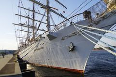 STS Gift of the Youth Dar Mlodziezy - three-masted Polish training frigate type B-95 in Gdynia. GDYNIA, POLAND: SEPTEMBER 29, 2017: STS Gift of the Youth Dar Royalty Free Stock Images