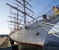 STS Gift of the Youth Dar Mlodziezy - three-masted Polish training frigate type B-95 in Gdynia. GDYNIA, POLAND: SEPTEMBER 29, 2017: STS Gift of the Youth Dar Stock Photography
