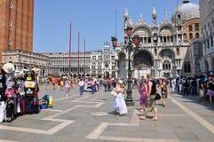 Sts Mark fyrkant i Venedig. Arkivbilder