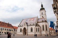Sts Mark kyrka i Zagreb Arkivbild