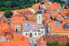 Sts Mark kyrkliga Zagreb Arkivfoto