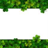 Sts Patrick bakgrund för dagvektor med det treklöversidor och banret Royaltyfri Bild