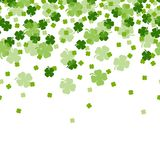 Sts Patrick bakgrund för växt av släktet Trifolium för blad för dagtreklöverer 4 royaltyfri illustrationer