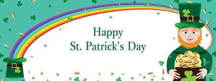Sts Patrick baner för krullning för dagregnbåge Arkivfoto