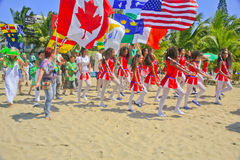 Sts Patrick dag ståtar, Cabarete, Dominikanska republiken Royaltyfria Foton