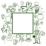 Sts Patrick ram för dagvektor Skissa illustrationen stock illustrationer