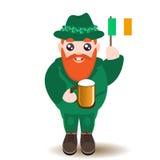 Sts Patrick tecken för dagman med öl och den irländska flaggan Fotografering för Bildbyråer