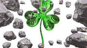 Sts Patrick växt av släktet Trifolium för effekt för dag 3d över utrymmebakgrund och asteroidfält Dekorativ hälsningvykort Enkelt Arkivfoto