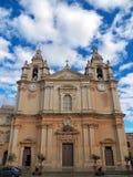 Sts Paul domkyrka av Mdina, Malta arkivfoto