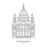 Sts Paul domkyrka, illustration för London gränsmärkevektor Arkivbild