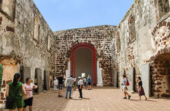 Sts Paul kyrka i Malacca Arkivfoton