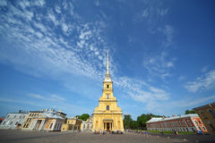 Sts Peter and Paul Cathedral (Saint Petersburg). Sunny day Stock Photo