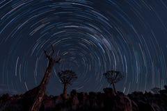 Stsr śladów okrąg nad kołczanów drzewami obraz stock
