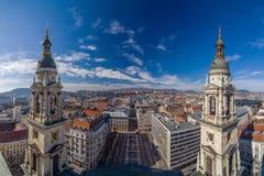 从StStephens大教堂的全景 布达佩斯,匈牙利 库存照片