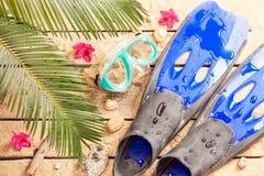 Sätta på land, palmträdsidor, sand, fena, skyddsglasögon och snorkeln Royaltyfria Bilder