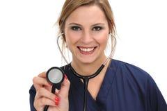 Stéthoscope femelle de fixation de docteur Photo libre de droits