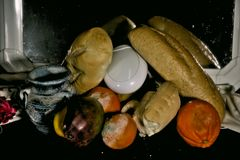 Still life with bread and some fruit 8 Royalty Free Stock Photos