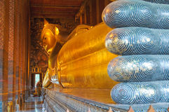 Stützender Buddha, wat pho, Bangkok Stockfotos