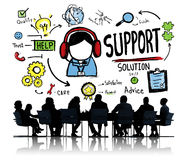 Stützlösungs-Ratehilfssorgfalt-Zufriedenheits-Qualitäts-Konzept Lizenzfreie Stockfotos