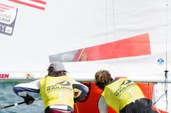 Stu McNay avslutar 3rd på ISAF som seglar världscupen Royaltyfri Fotografi
