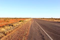 Stuart Highway in the desert countryside, Australia Stock Images