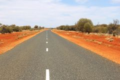 Stuart Highway in the Red Centre of Australia Royalty Free Stock Photos