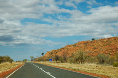 Stuart's Highway, Outback Australia. This picture shows Stuart's highway, near the town of Aileron in outback Australia Stock Photo