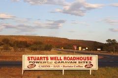 Signboard for Stuarts Well Roadhouse, Stuart Highway, Australia Stock Photo
