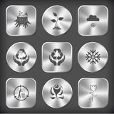 Stub, sprout, snowfall, protection sea life, protection nature,. Nature set. Vector round and square steel buttons Royalty Free Stock Photography