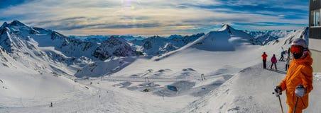 Stubai冰川滑雪区域 库存照片