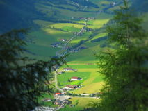 Stubai Austria. Nature above valley in Stubaier alps. Village in the valley Stock Photography